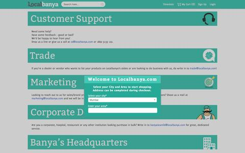 Screenshot of Contact Page localbanya.com - Contact us | Buy grocery items online and get free home delivery | Localbanya.com - captured Oct. 1, 2015