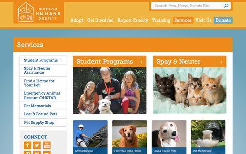 Screenshot of Services Page oregonhumane.org - Services - Oregon Humane Society - captured Oct. 21, 2017