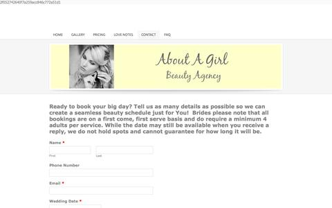 Screenshot of Contact Page aboutagirlbeauty.com - Contact -  About A Girl - Beauty Agency - captured Oct. 4, 2014