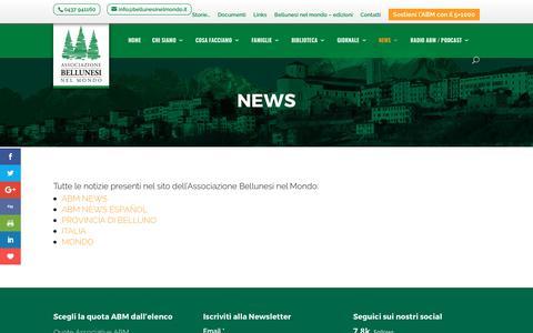 Screenshot of Press Page bellunesinelmondo.it - NEWS | ABM - captured Oct. 9, 2017