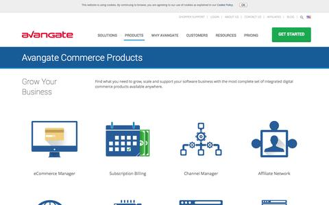 Screenshot of Products Page avangate.com - Grow Your Software Business with Avangate Commerce Products - captured Oct. 10, 2014