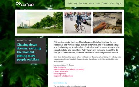 Screenshot of About Page pocampo.com - About | Casual Bags & Cute Bike Accessories for Healthy Lifestyles | Po Campo - captured Sept. 30, 2014