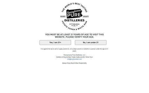Screenshot of Contact Page boydandblair.com - Contact Us | Pennsylvania Pure Distilleries - captured Sept. 27, 2018