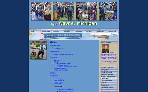 Screenshot of Site Map Page wayne.mi.us - City of Wayne, Michigan - Sitemap - captured Oct. 2, 2014