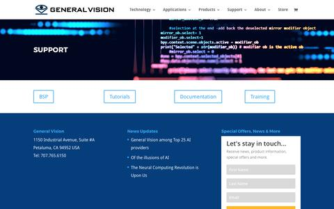 Screenshot of Support Page general-vision.com - Support - General Vision Inc. - captured July 25, 2017