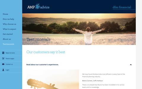 Screenshot of Testimonials Page amp.com.au - Client Testimonials - DFM Financial - captured May 11, 2017