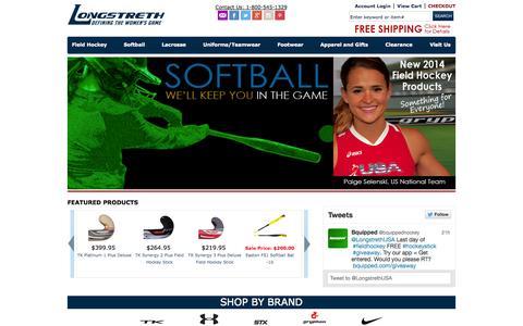 Screenshot of Home Page longstreth.com - Field Hockey, Womens Lacrosse, Softball Equipment, Team Uniforms - Longstreth.com - captured Sept. 22, 2014