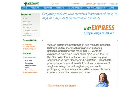 Screenshot of Contact Page northwire.com - Contact the Cable Manufacturer, Wire and Cable Engineering - captured Oct. 7, 2014