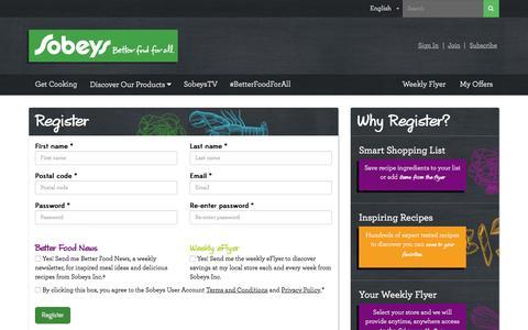 Screenshot of Signup Page sobeys.com - Register - Sobeys Inc. - captured Dec. 25, 2016