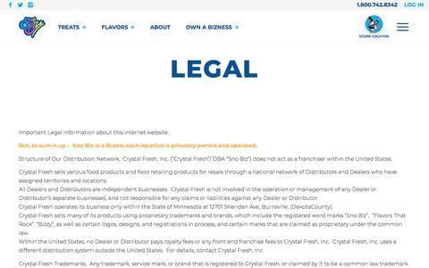 Screenshot of Terms Page snobiz.com - Legal | Sno Biz® - captured Sept. 20, 2018