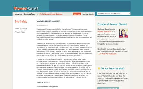 Screenshot of Terms Page womanowned.com - Terms of Service | Woman Owned - captured Sept. 20, 2018