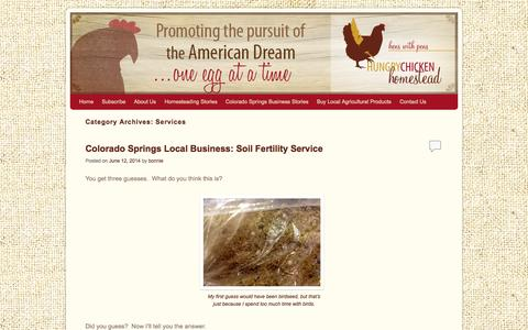 Screenshot of Services Page hungrychickenhomestead.com - Services | Hungry Chicken Homestead - captured Oct. 2, 2014