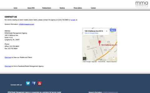 Screenshot of Contact Page mmaagency.com - MMA - Model Management Agency - captured Oct. 3, 2014