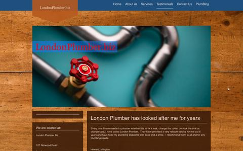 Screenshot of Testimonials Page londonplumber.biz - LondonPlumber.biz: About us - captured Feb. 7, 2018