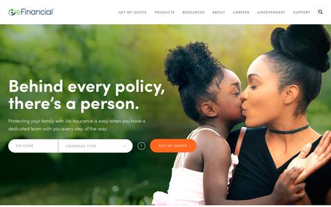 Screenshot of Home Page efinancial.com - Home | eFinancial - captured July 16, 2018