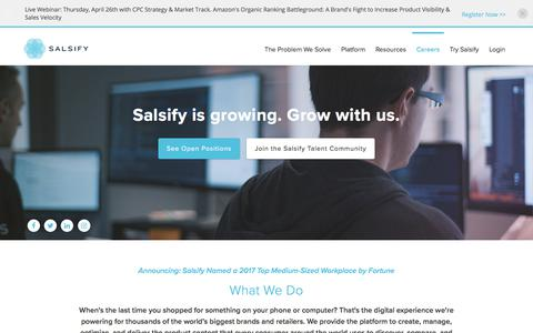 Screenshot of Jobs Page salsify.com - Careers at Salsify - captured April 26, 2018