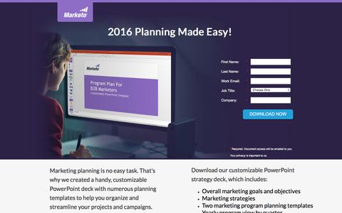 Screenshot of Landing Page marketo.com - Program Planning Templates - captured Aug. 9, 2016