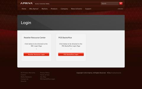 Screenshot of Login Page apriva.com - Login | Apriva - captured Sept. 12, 2014
