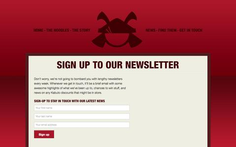 Screenshot of Signup Page kabutonoodles.com - Sign up to our Newsletter · Kabuto Noodles - captured Sept. 30, 2014