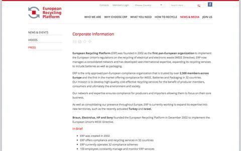 Screenshot of Press Page erp-recycling.org - ERP European Recycling Platform | Press - captured Oct. 3, 2014