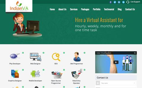 Screenshot of Home Page indianva.com - Hire a Virtual Assistant for your day to day jobs - captured June 18, 2015