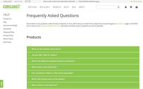 Screenshot of FAQ Page cariloha.com - FAQ - captured May 4, 2017