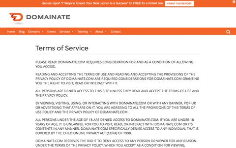 Screenshot of Terms Page domainate.com - Terms of Service - Domainate - captured June 4, 2017