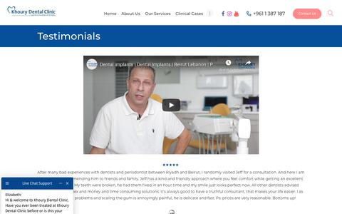 Screenshot of Testimonials Page khourydentalclinic.com - Reviews & Testimonial | Khoury Dental Clinic | Lebanon Beirut - captured Jan. 21, 2020