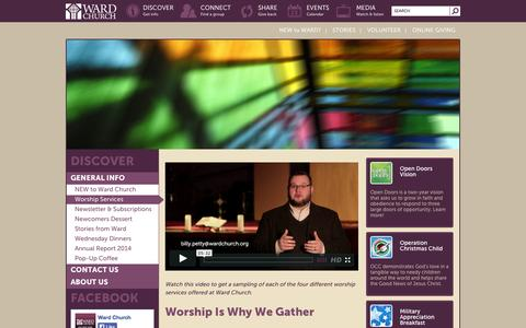 Screenshot of Services Page wardchurch.org - Worship Services - Ward Church - captured Oct. 27, 2014