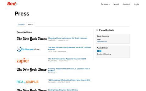 Screenshot of Press Page rev.com - Press - Rev - captured Sept. 19, 2018