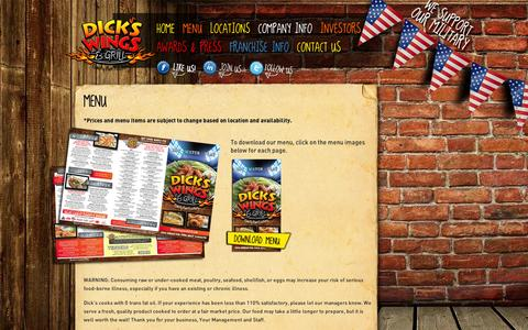 Screenshot of Menu Page dickswingsandgrill.com - Menu | Dick's Wings and Grill - captured Sept. 10, 2014