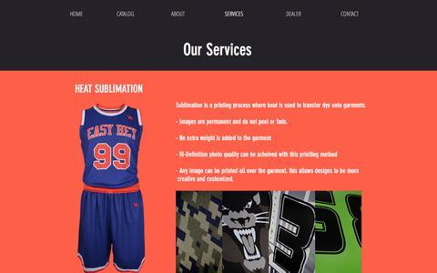 Screenshot of Services Page ysteamwear.com - ysteamwear   SERVICES - captured May 27, 2017