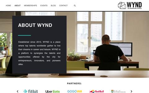 Screenshot of About Page wynd.hk - ABOUT – WYND CO-WORKING SPACE | Widen Your Network & Dimension - captured Dec. 5, 2019