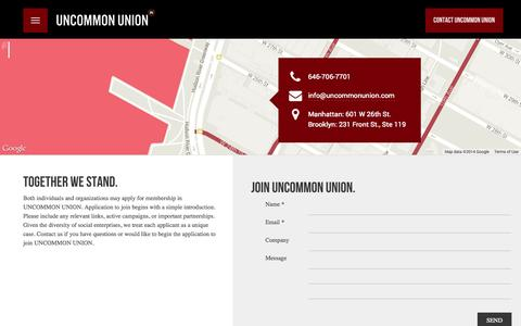 Screenshot of Contact Page Signup Page uncommonunion.com - Contact | Uncommon Union - captured Oct. 25, 2014