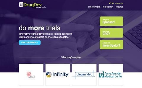 Screenshot of Home Page drugdev.com - DrugDev - Do More Trials - captured Aug. 15, 2015