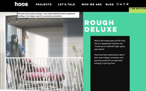 Screenshot of Home Page hoos.co - Hoos | Architects London - captured Sept. 1, 2017