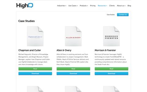 Screenshot of Case Studies Page highq.com - Client case studies - HighQ - captured Oct. 10, 2014