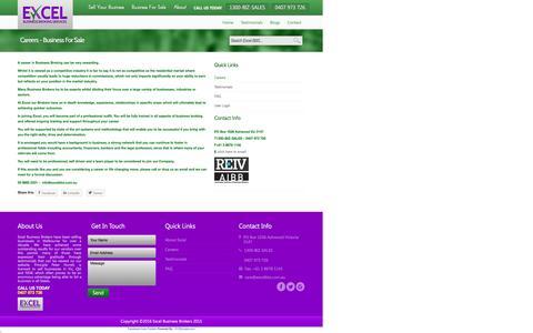 Screenshot of Jobs Page excelbbs.com.au - Careers - Business For Sale - captured Nov. 12, 2016