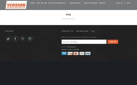 Screenshot of FAQ Page versionsports.com - FAQ - VersionSports - captured Nov. 13, 2017