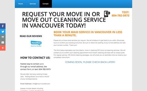 Screenshot of Privacy Page Contact Page mop-n-bucket.com - Mop-n-bucket Cleaning Service of Vancouver, BC : Contact - captured Nov. 18, 2016