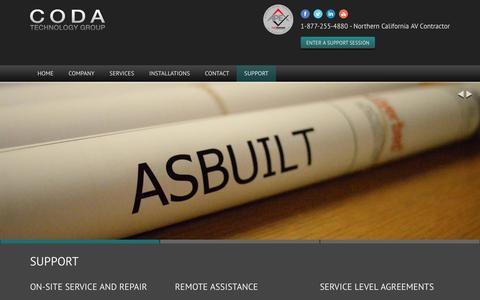 Screenshot of Support Page coda-tech.com - Support | Coda Technology Group - captured Nov. 8, 2016