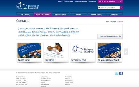Screenshot of Contact Page anglican.org - Diocese Of Liverpool - captured Sept. 19, 2014