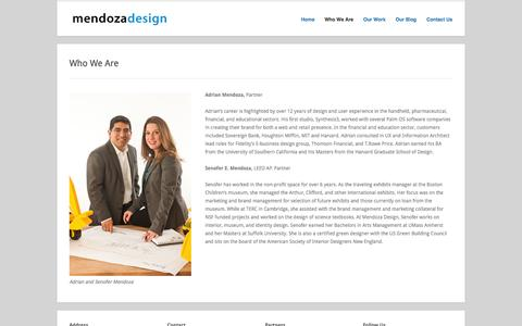 Screenshot of About Page mendoza-design.com - Mendoza Design  » Who We Are | User Experince [UX] design when it counts. - captured Oct. 27, 2014