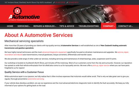 Screenshot of About Page Terms Page Testimonials Page aautomotive.co.nz - Company - Automatic Transmission Repairs - captured Oct. 31, 2018