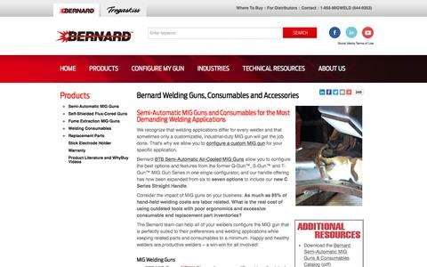 Screenshot of Products Page bernardwelds.com - Bernard Welding Guns, Consumables and Accessories - captured Oct. 10, 2017