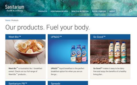 Screenshot of Products Page sanitarium.com.au - Sanitarium health food products - captured July 27, 2018