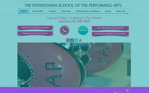 Screenshot of Home Page pspastudios.com - Dance School for Children located in Bucks County, PA | PSPA - captured Oct. 18, 2018