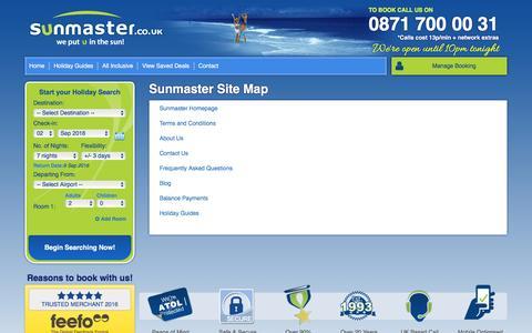 Screenshot of Site Map Page sunmaster.co.uk - Site Map   Sunmaster - captured Sept. 1, 2016