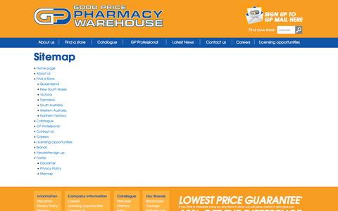 Screenshot of Site Map Page goodpricepharmacy.com.au - Good Price Pharmacy Warehouse - captured Sept. 30, 2014