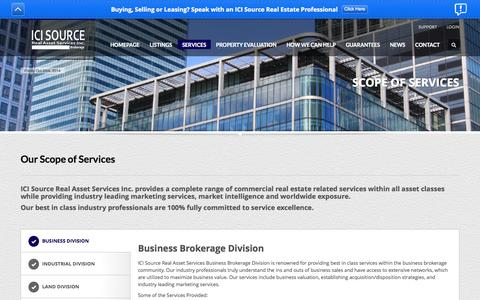 Screenshot of Services Page icisource.com - Scope of Services - ICI Source Real Asset Services Inc., Brokerage -  Providing a Complete Range of Commercial Real Estate Brokerage Services -  GTA Toronto Mississauga - captured Oct. 3, 2014